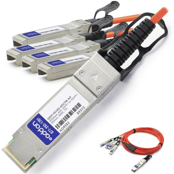 AddOn Cisco QSFP-4X10G-AOC7M Compatible TAA Compliant 40GBase-AOC QSFP+ to 4xSFP+ Direct Attach Cable (850nm, MMF, 7m)