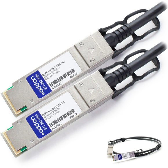 AddOn Cisco QSFP-H40G-CU3M Compatible TAA Compliant 40GBase-CU QSFP+ to QSFP+ Direct Attach Cable (Passive Twinax, 3m)