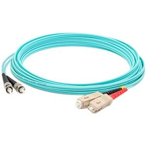 AddOn 5m SC (Male) to ST (Male) Aqua OM3 Duplex Fiber OFNR (Riser-Rated) Patch Cable