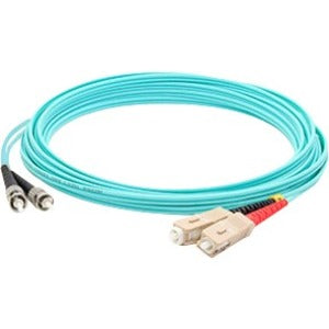 AddOn 10m SC (Male) to ST (Male) Aqua OM3 Duplex Fiber OFNR (Riser-Rated) Patch Cable