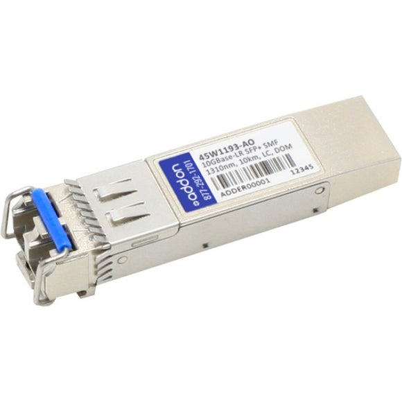 AddOn IBM 45W1193 Compatible TAA Compliant 10GBase-LR SFP+ Transceiver (SMF, 1310nm, 10km, LC, DOM)