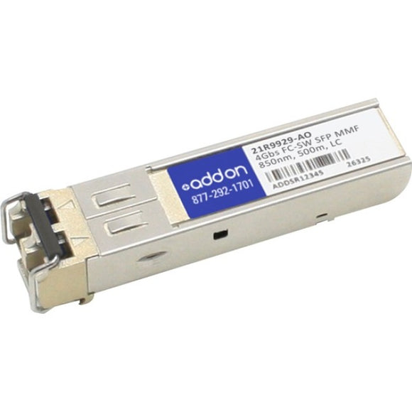 AddOn IBM 21R9929 Compatible TAA Compliant 4Gbs Fibre Channel SW SFP Transceiver (MMF, 850nm, 500m, LC)