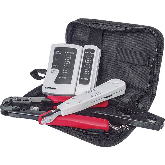 Intellinet Network Solutions 4-Piece Network Tool Kit Composed of LAN Tester, LSA Punch Down Tool, Crimping Tool and Cutter-Stripper Tool