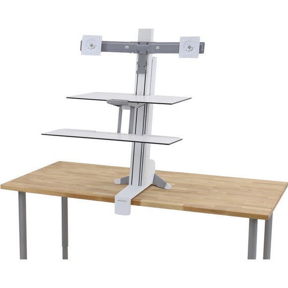 Ergotron Dual Monitor Sit-stand With Worksurface+ (white).convert Any Surface In