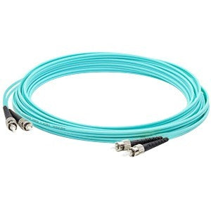 AddOn 10m ST (Male) to ST (Male) Aqua OM3 Duplex Fiber OFNR (Riser-Rated) Patch Cable