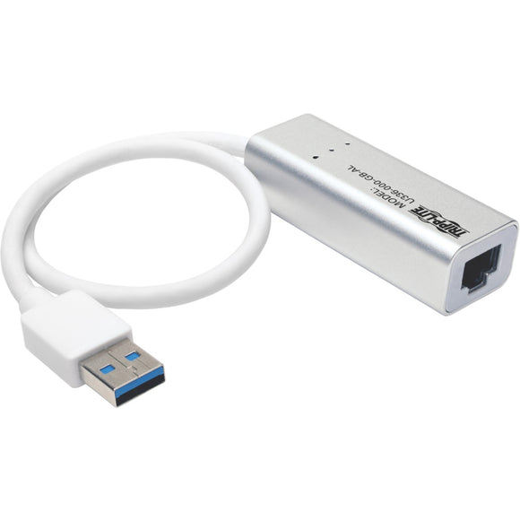 Tripp Lite USB 3.0 SuperSpeed to Gigabit Ethernet NIC Network Adapter RJ45 10-100-1000 Aluminum White