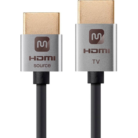 Monoprice Ultra Slim 18Gbps Active High Speed HDMI Cable, 3ft Silver