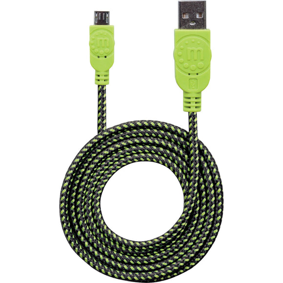 Manhattan Braided USB 2.0 A Male - Micro-B Male, 3 ft., Black-Green - Retail Package