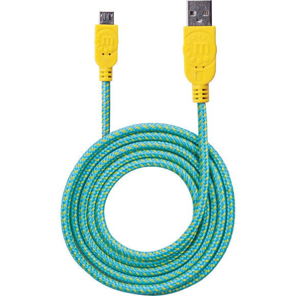 Manhattan Hi-Speed USB 2.0 A Male to Micro-B Male Braided Cable, 1.8 m (6 ft.), Teal-Yellow