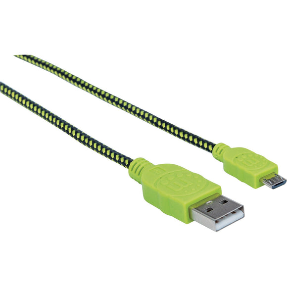 Manhattan Hi-Speed USB 2.0 A Male to Micro-B Male Braided Cable, 1 m (3 ft.), Black-Green