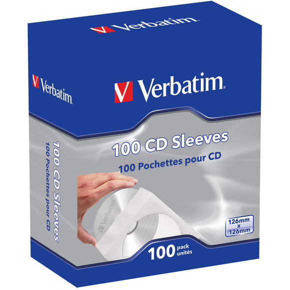 Verbatim CD-DVD Paper Sleeves with Clear Window - 100pk Box