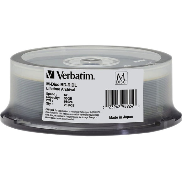 Verbatim Blu-ray Recordable Media - BD-R DL - 6x - 50 GB - 25 Pack Spindle