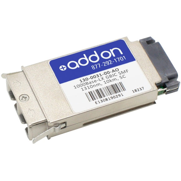 AddOn McAfee 130-0031-00 Compatible TAA Compliant 1000Base-LX GBIC Transceiver (SMF, 1310nm, 10km, SC)