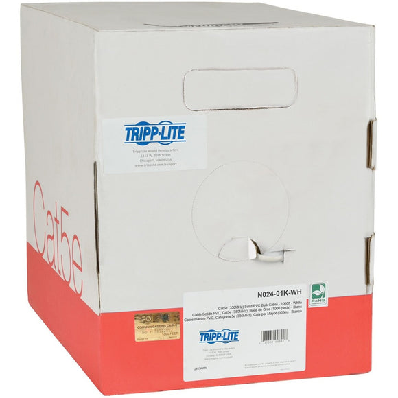 Tripp Lite 1000ft Cat5 - Cat5e Bulk Cable Solid CMP Plenum PVC White 1000' ->  -> May Require Up to 5 Business Days to Ship -> May Require up to 5 Business Days to Ship