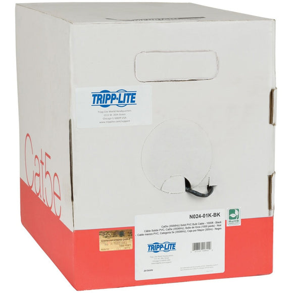 Tripp Lite 1000ft Cat5 - Cat5e Bulk Cable Solid CMP Plenum PVC Black 1000' ->  -> May Require Up to 5 Business Days to Ship -> May Require up to 5 Business Days to Ship