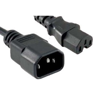 ENET C14 to C15 6ft Black Power Extension Cord 14 AWG 15A NEMA IEC-320 C14 to NEMA IEC-320 C15 Black 6'