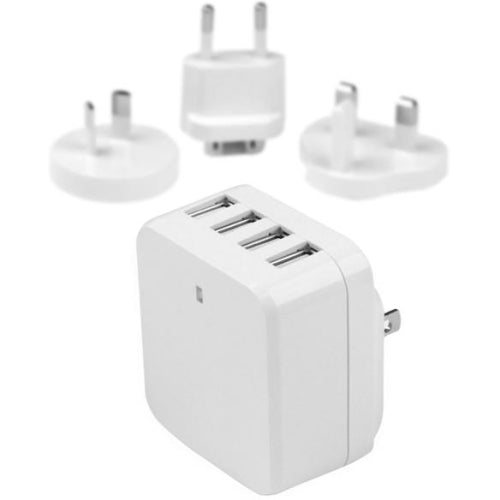 StarTech.com Travel USB Wall Charger - 4 Port - White - Universal Travel Adapter - International Power Adapter - USB Charger