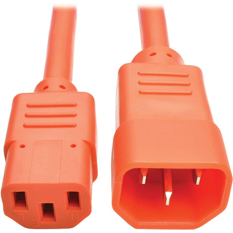 Tripp Lite 3ft Computer Power Extension Cord 10A 18 AWG C14 C13 Orange 3'