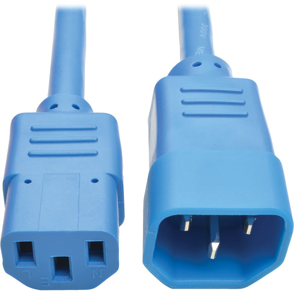 Tripp Lite 3ft Heavy Duty Power Extension Cord 15A 14 AWG C14 C13 Blue 3'