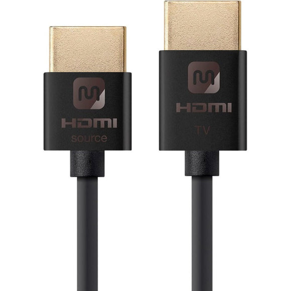 Monoprice Ultra Slim 18Gbps Active High Speed HDMI Cable, 6ft Black