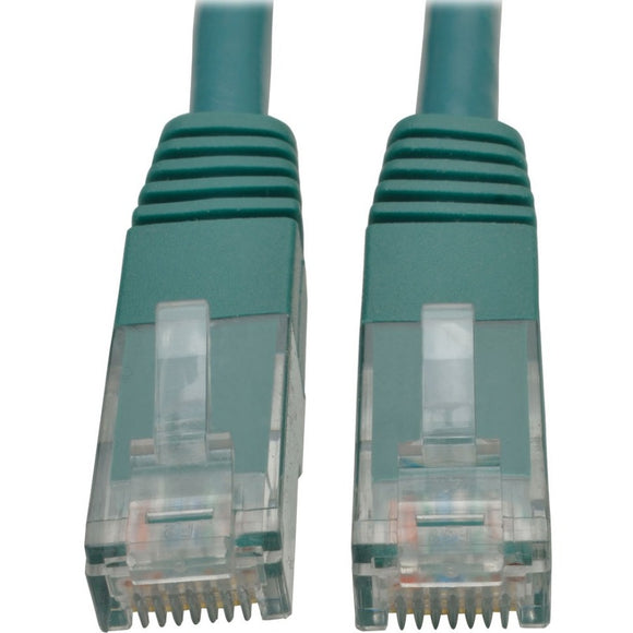 Tripp Lite 10ft Cat6 Gigabit Molded Patch Cable RJ45 M-M 550MHz 24AWG Green