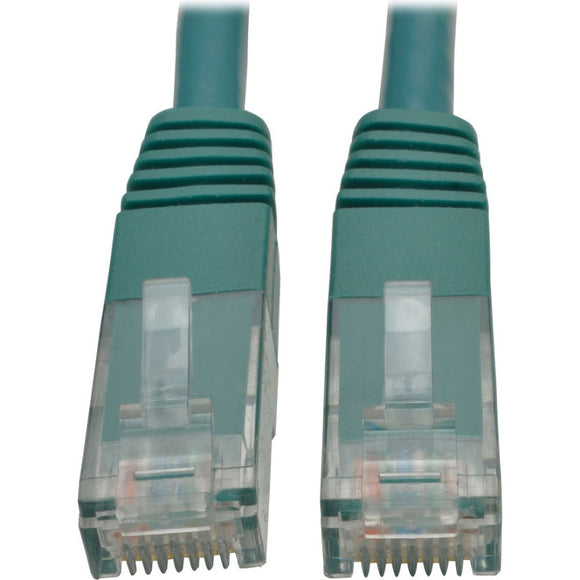 Tripp Lite 15ft Cat6 Gigabit Molded Patch Cable RJ45 M-M 550MHz 24AWG Green