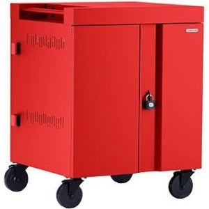 Bretford CUBE Cart AC for Up to 32 Devices w-Back Panel, Red Paint