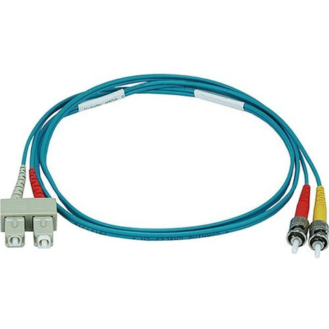 Monoprice 10Gb Fiber Optic Cable, ST-SC, Multi Mode, Duplex - 1 Meter (50-125 Type) - Aqua