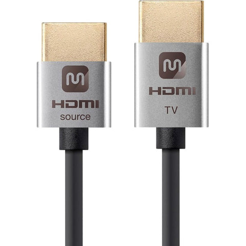 Monoprice Ultra Slim 18Gbps Active High Speed HDMI Cable, 10ft Silver