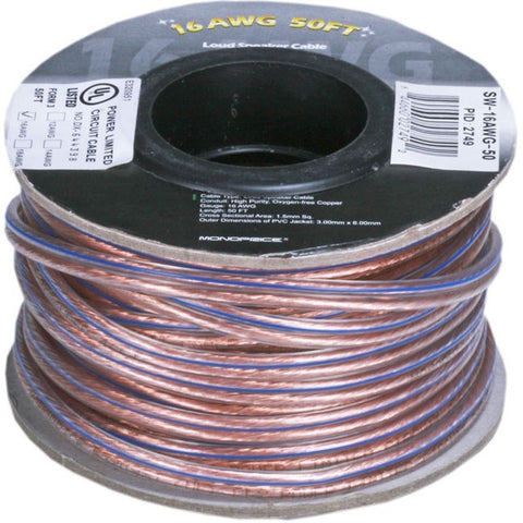 Monoprice Choice Series 16AWG Oxygen-Free Pure Bare Copper Speaker Wire, 50ft