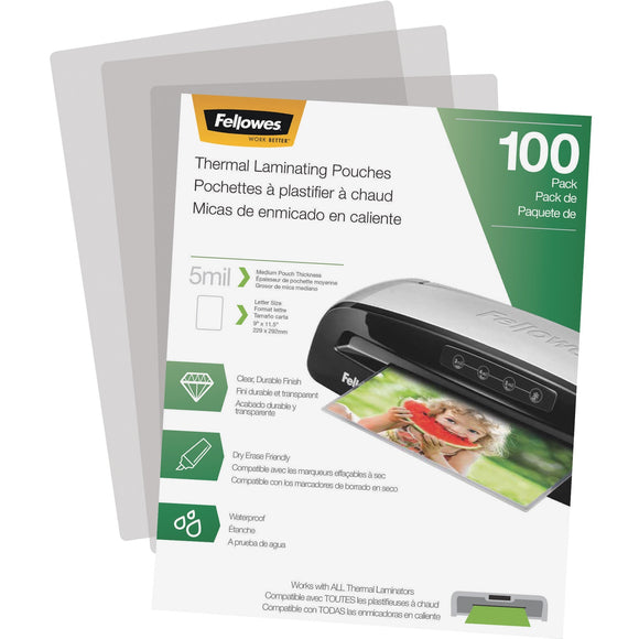Fellowes Thermal Laminating Pouches - Letter, 5 mil, 100 pack