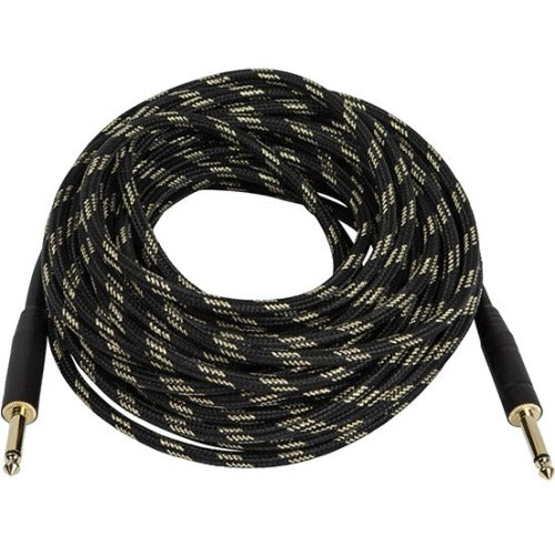 Monoprice 50ft. Cloth Series 1-4 inch T-S Male 20AWG Instrument Cable - Black & Gold