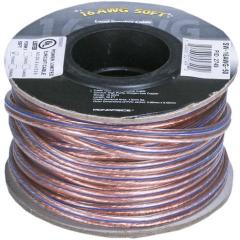 Monoprice Choice Series 12AWG Oxygen-Free Pure Bare Copper Speaker Wire, 100ft
