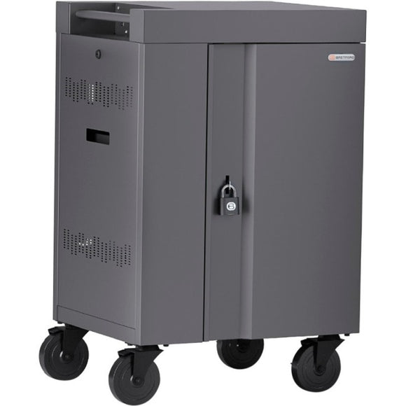 Bretford CUBE Cart Mini Charging Cart AC for 20 Devices, Charcoal Paint