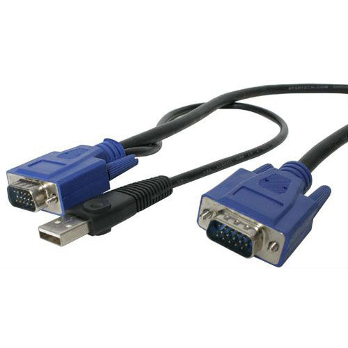 StarTech.com 15 ft 2-in-1 Ultra Thin USB KVM Cable - Video - USB cable - 4 pin USB Type A, HD-15 (M) - HD-15 (M) - 4.57 m