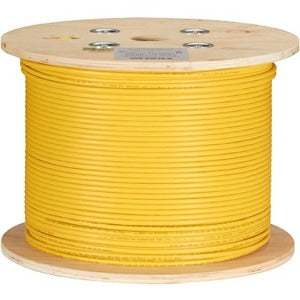Black Box CAT6A 500-MHz Bulk Cable - F-UTP, Plenum, Solid, Yellow, 1000-ft.