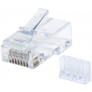 Intellinet Network Solutions Cat6 RJ45 Modular Plugs, 3-Prong, UTP, For Solid Wire, 90 Plugs and Liners in Jar