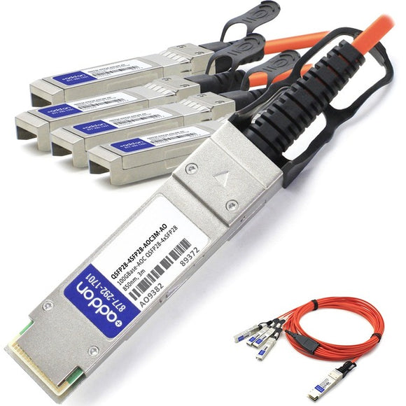 AddOn MSA and TAA Compliant 100GBase-AOC QSFP28 to 4xSFP28 Direct Attach Cable (850nm, MMF, 3m)