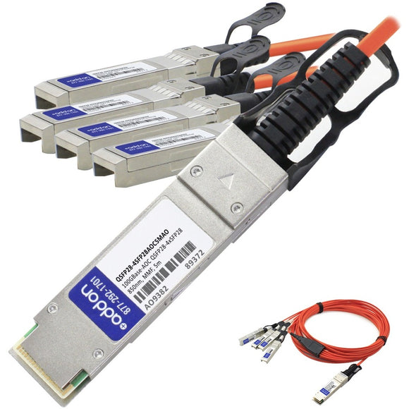 AddOn MSA and TAA Compliant 100GBase-AOC QSFP28 to 4xSFP28 Direct Attach Cable (850nm, MMF, 5m)