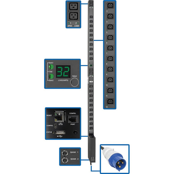 Tripp Lite PDU Switched 7.4kW 230V 32A Blue IEC 309 LX Interface 0URM TAA