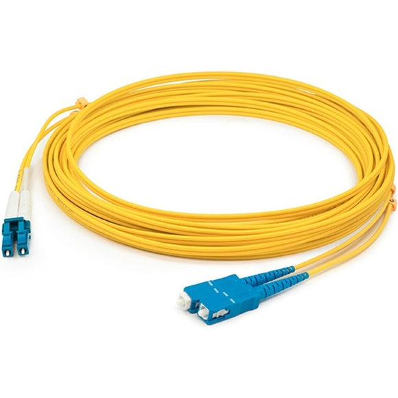 AddOn 15m LC (Male) to SC (Male) Yellow OS1 Duplex Fiber OFNR (Riser-Rated) Patch Cable