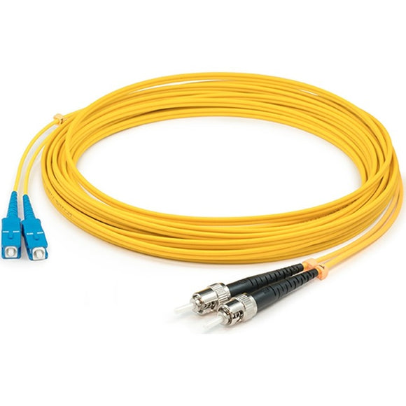 AddOn 0.5m ST (Male) to ST (Male) Yellow OS2 Duplex Fiber OFNR (Riser-Rated) Patch Cable