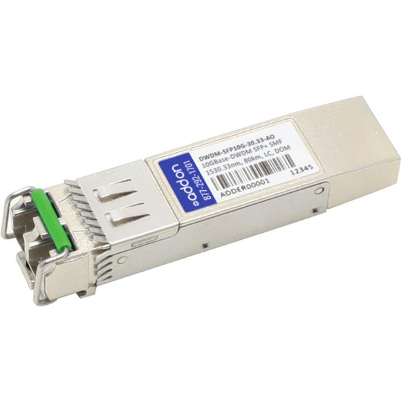 AddOn Cisco ONS-SC+-10G-52.5 Compatible TAA compliant 10GBase-DWDM 100GHz SFP+ Transceiver (SMF, 1552.52nm, 80km, LC, DOM)