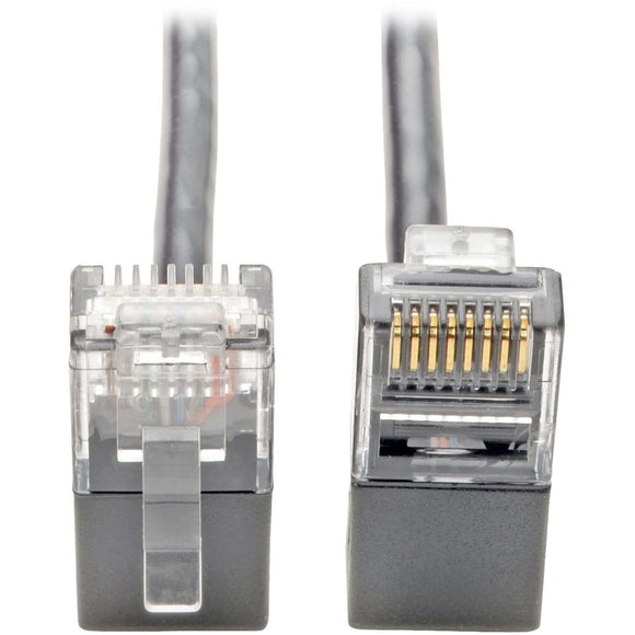 Tripp Lite Cat6 Gigabit Patch Cable Snagless Right-Angle UTP Slim Gray 2ft