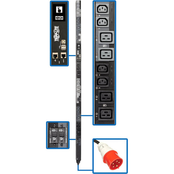 Tripp Lite 3-Phase PDU Switched 17.3kW 240V 12 C13; 12 C19 30A Red TAA