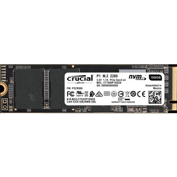 Crucial 1 TB Solid State Drive - PCI Express - Internal - M.2 2280