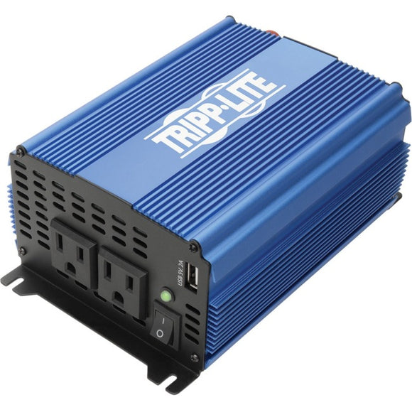 Tripp Lite 1000W Compact Power Inverter Mobile Portable 2 Outlet 1 USB Port