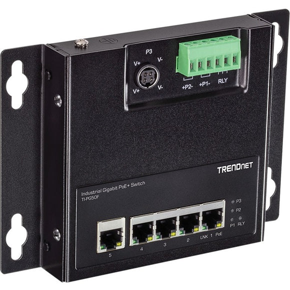 TRENDnet 5-Port Industrial Gigabit PoE+ Wall-Mounted Front Access Switch