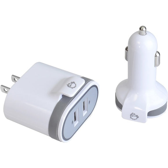 SIIG Fast Charging USB Wall Charger & Car Charger Bundle Pack - White