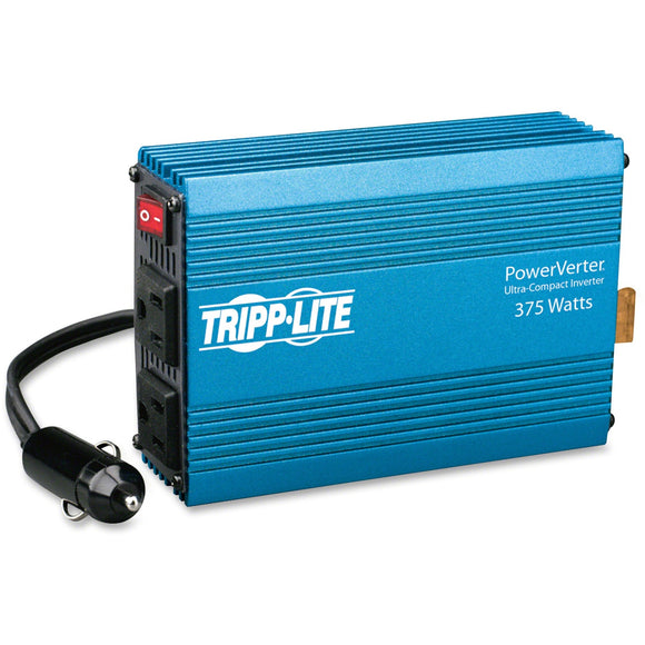 Tripp Lite Compact Car Portable Inverter 375W 12V DC to 120V AC 2 Outlets